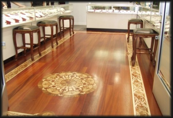 Commercial Hardwood Floor with Border & Medallion - Jewelry Store