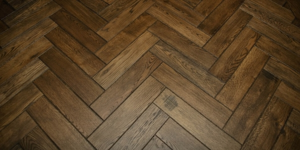 Graf Brothers Distressed Solid Oak with Herringbone Design