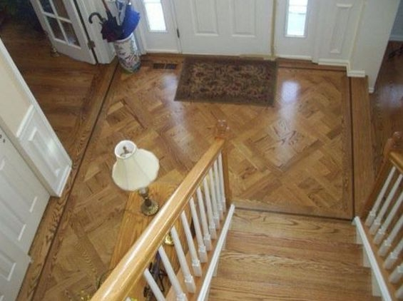 Red Oak Entry Area with Parquet Pattern, Border & Stairs