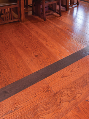 Vintage Solid Hickory Hand Scraped with Border