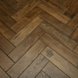 Graf Brothers Solid Oak Distressed With Herringbone Design