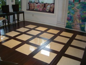 Mixed Media With Reclaimed Flooring Framing Marble Tiles